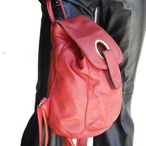 Aidrani Red Leather Back pack Bag